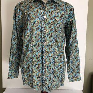 """#99 Alan Flusser Turquoise Paisley Sz M 32-33""""L"""